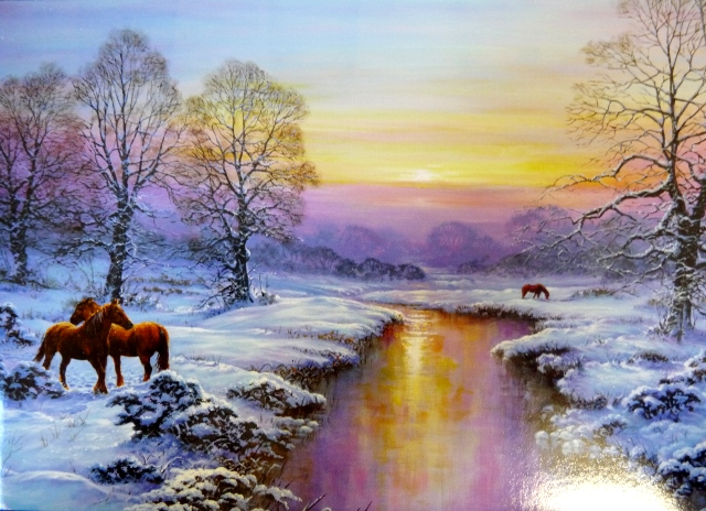 Pack of 10 Christmas Cards - Horses In The Snow