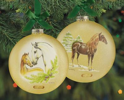 Spanish Horses Glass Ornament